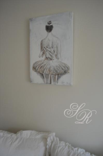 bild auf leinwand kleine ballerina grau wei 40x60cm shabby chic ebay. Black Bedroom Furniture Sets. Home Design Ideas
