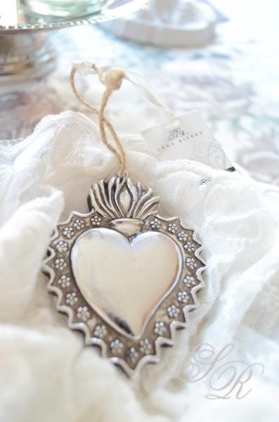 lene bjerre heart pendant tree decorations shabby chic vintage nostalgia ebay. Black Bedroom Furniture Sets. Home Design Ideas