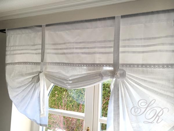 raffgardine vicky 140cm mit binsen h kelspitze white landhausgardine ebay. Black Bedroom Furniture Sets. Home Design Ideas