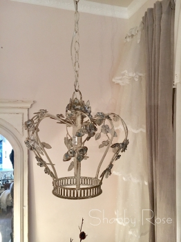Van Deurs* Franz. Lüster Mit Blüten, Antik Finish Cremewhite, H 35cm