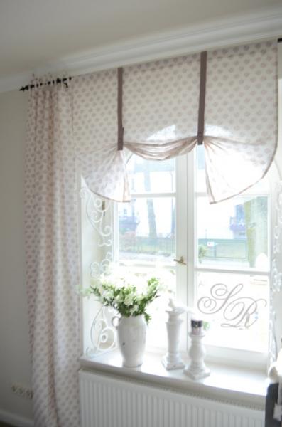 raffgardine rose white mauve 120cm shabby chic romantik gardine landhaus ebay. Black Bedroom Furniture Sets. Home Design Ideas