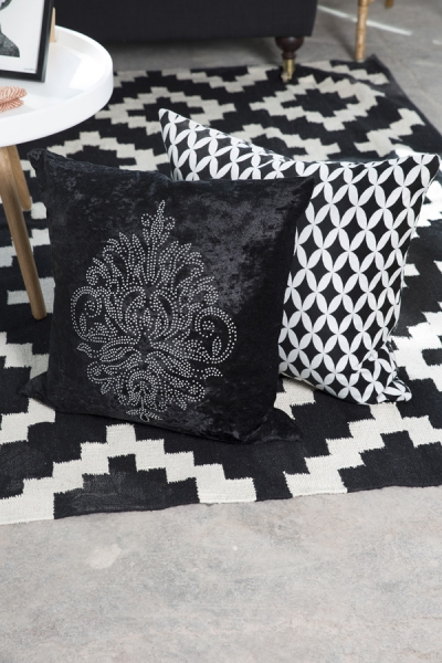 kissenh lle retrostyle schwarz wei 45x45cm dekokissenbezug kissenbezug loft ebay. Black Bedroom Furniture Sets. Home Design Ideas